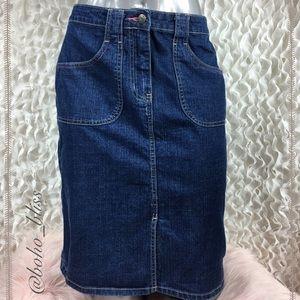 WESTPORT   Denim Blue Jean Midi Skirt